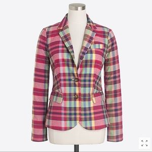NWT J. CREW Printed plaid schoolboy blazer